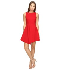 Adelyn Rae Fit And Flare Dress With Asymmetrical Hem Red Women's Dress