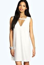 Boohoo Cut Out Detail Shift Dress Ivory