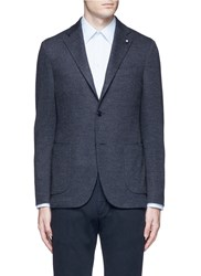 Lardini Dot Jacquard Cotton Wool Jersey Soft Blazer Grey