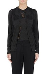 Dolce And Gabbana Women's Lace Inset Cashmere Silk Cardigan Grey
