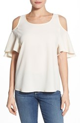 Women's Gibson Cold Shoulder Flutter Sleeve Top Butter
