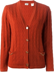 Celine Vintage Knit Cardigan Red