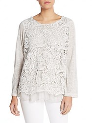 Saks Fifth Avenue Floral Embroidered Top Grey