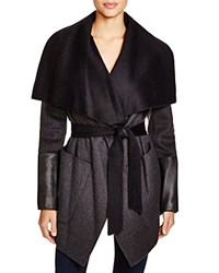Bcbgmaxazria Shawl Collar Leather Sleeve Wrap Coat