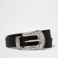 River Island Womens Ri Plus Black Silver Buckle Western Belt