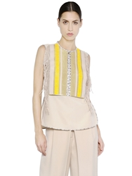 Salvatore Ferragamo Silk Crepe Top With Leather Fringe Beige Yellow