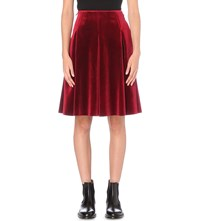 Moandco. High Rise Velvet Skirt Biking Red