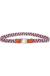 M Missoni Leather Trimmed Elastic Waist Belt Pink