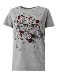 Alexander Mcqueen Floral And Insect Skull Print T Shirt Grey
