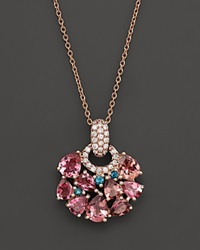 Roberto Coin 18K Rose Gold Fantasia London Blue Topaz And Pink Tourmaline Pendant Necklace 16 Rose Blue
