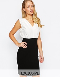 Closet 2 In 1 Pencil Dress With Cross Front And Open Back Creamblack
