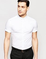 Asos Skinny Shirt In White With Short Sleeves And Button Down Collar White