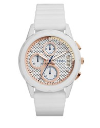 Fossil Coated Stainless Steel And Silicone Strap Watch Es3981 White