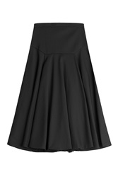 Vionnet Flared Cotton Skirt Black