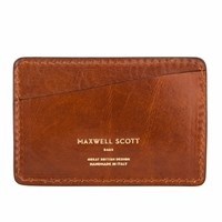 Maxwell Scott Bags X27 The Alberi Small Men's Italian Leather Card Holder Chestnut Tan Brown