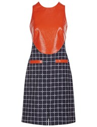 Courreges Navy And Orange Vinyl Pinafore Dress