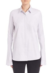 Jonathan Simkhai Flare Trim Oxford Shirt Ice Blue