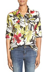 Women's Tommy Bahama 'Victoria Blooms' Floral Print Linen Roll Sleeve Shirt