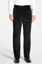 Men's Berle Pleated Corduroy Trousers Black