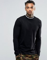 Asos Longline Long Sleeve T Shirt With Aztec Print Turtle Neck Black