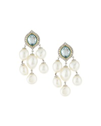 Jude Frances Tiered Pearl And Blue Quartz Drop Earrings