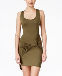 Planet Gold Juniors' Knot Side High Low Tank Dress Olive Green