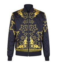 Versace Collection Reversible Quilted Bomber Jacket Male Navy