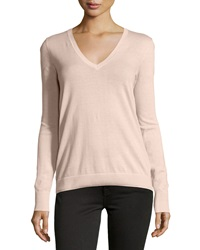 Neiman Marcus Cotton V Neck Long Sleeve Sweater Hampton Rose