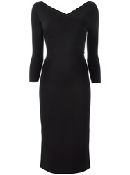 Theory V Neck Midi Dress Black