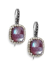 Stephen Dweck Verona Mother Of Pearl Diamond Garnet And Sterling Silver Doublet Drop Earrings