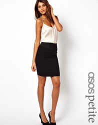 Asos Petite High Waisted Pencil Skirt With Elastic Sides Black