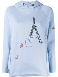 Jour Ne Embroidered Paris Hoodie Blue