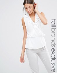 Alter Tall Wrap Front Sleeveless Blouse With Ruffle Detail Cream