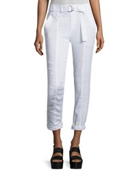 Vince Linen Blend Belted Trousers White