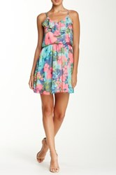 Lush Spaghetti Strap Printed Ruffle Dress Juniors Pink