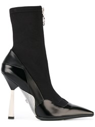 Versace Layered Effect Runway Boots Black