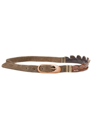 Laura B Fringed Belt Brown