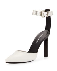 Cnc Costume National Pointed Toe Leather Pump Black White Silver