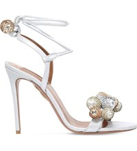 Aquazzura Disco Thing Sequin Embellished Suede Heeled Sandals Silver