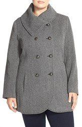 Plus Size Women's Jessica Simpson Double Breasted Basket Weave Coat