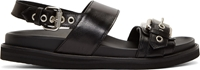 Mcq By Alexander Mcqueen Black Leather Silver Buckle Sandals