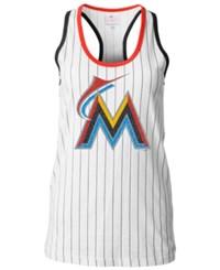 5Th And Ocean Women's Miami Marlins Pinstripe Glitter Tank Top White