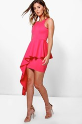 Boohoo Asymmetric Peplum Dress Coral