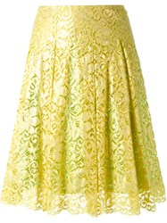 Dress Camp Pleated Floral Lace Skirt Yellow And Orange