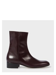 Paul Smith Men's Bordeaux Calf Leather 'Bardo' Boots Purple
