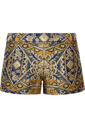 Alice Olivia Metallic Brocade Shorts Royal Blue