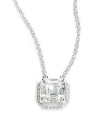 Crislu Cubic Zirconia And Sterling Silver Pave Pendant Necklace