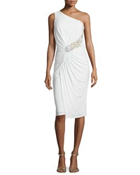 David Meister One Shoulder Ruched Cocktail Dress White