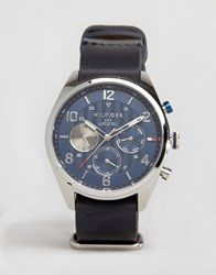 Tommy Hilfiger 1791187 Corbin Chronograph Leather Watch In Navy Navy
