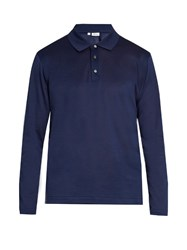 Brioni Long Sleeved Cotton Pique Polo Shirt Blue